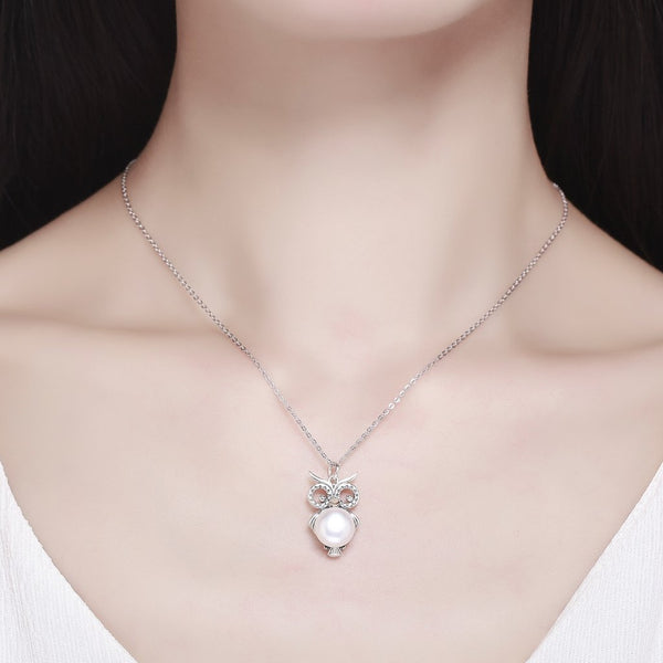 【100% 925 Sterling Silver+Pearl】 Cute Owl Pendant  Necklaces