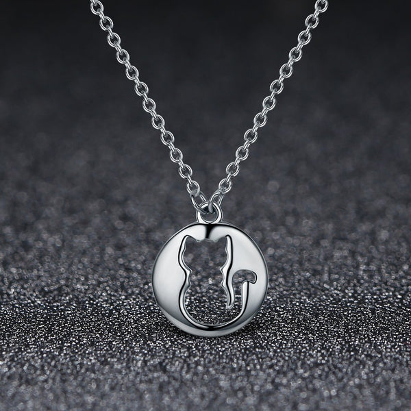 【100% 925 Sterling Silver】Silver Cat Pendant  Necklaces