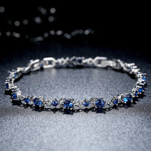 Load image into Gallery viewer, [Colorful Cubic Zirconia Stones] Luxury White Gold Plated Bracelet (Ocean Blue)