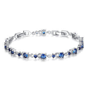 [Colorful Cubic Zirconia Stones] Luxury White Gold Plated Bracelet (Ocean Blue)