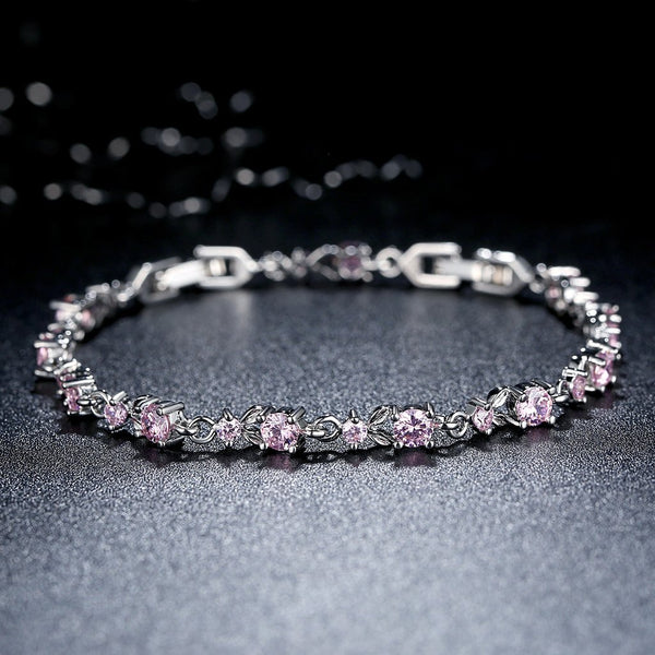 [Colorful Cubic Zirconia Stones] Luxury White Gold Plated Bracelet (Fresh Pink)