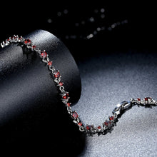 Load image into Gallery viewer, [Colorful Cubic Zirconia Stones] Luxury White Gold Plated Bracelet (Wine Red)