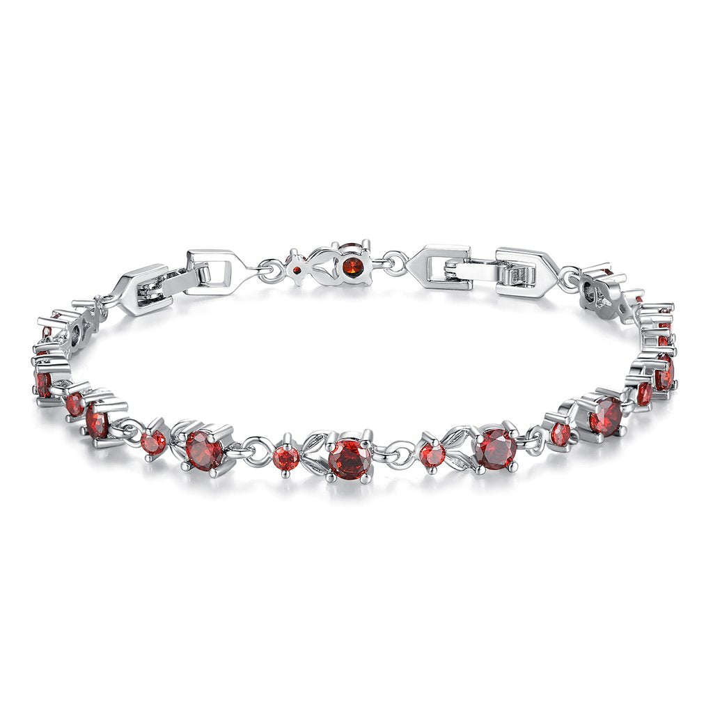 [Colorful Cubic Zirconia Stones] Luxury White Gold Plated Bracelet (Wine Red)