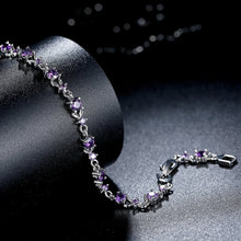 Load image into Gallery viewer, [Colorful Cubic Zirconia Stones] Luxury White Gold Plated Bracelet (Light Purple)
