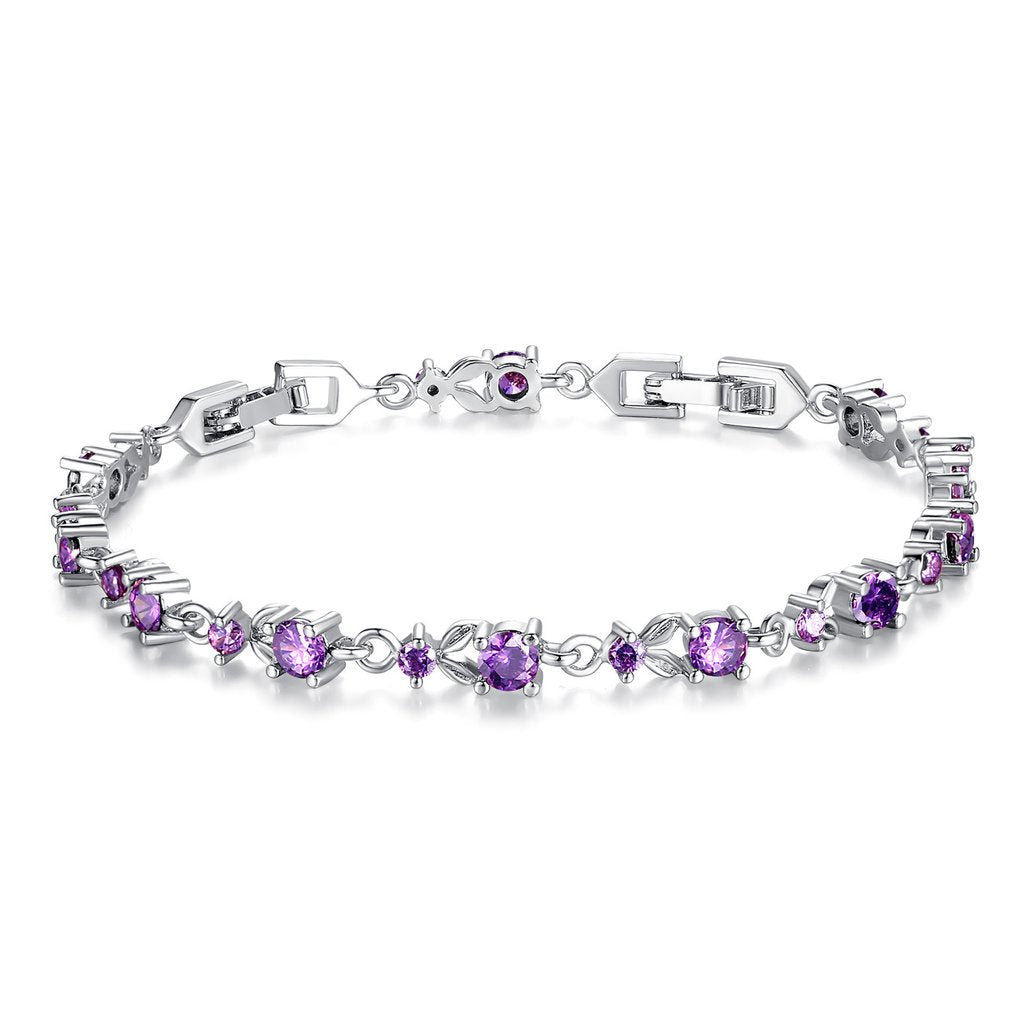 [Colorful Cubic Zirconia Stones] Luxury White Gold Plated Bracelet (Light Purple)