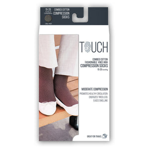 LADIES' BLACK HERRINGBONE PATTERN COMPRESSION SOCKS PACKAGING