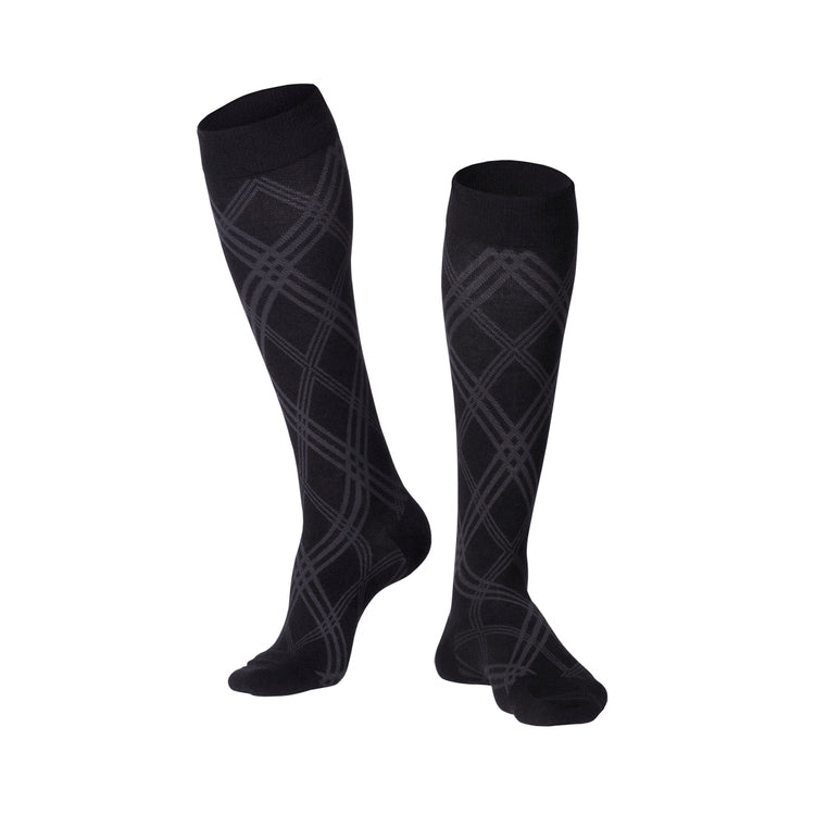 MEN'S BLACK INTELLIGENT ARGYLE PATTERN COMPRESSION SOCKS