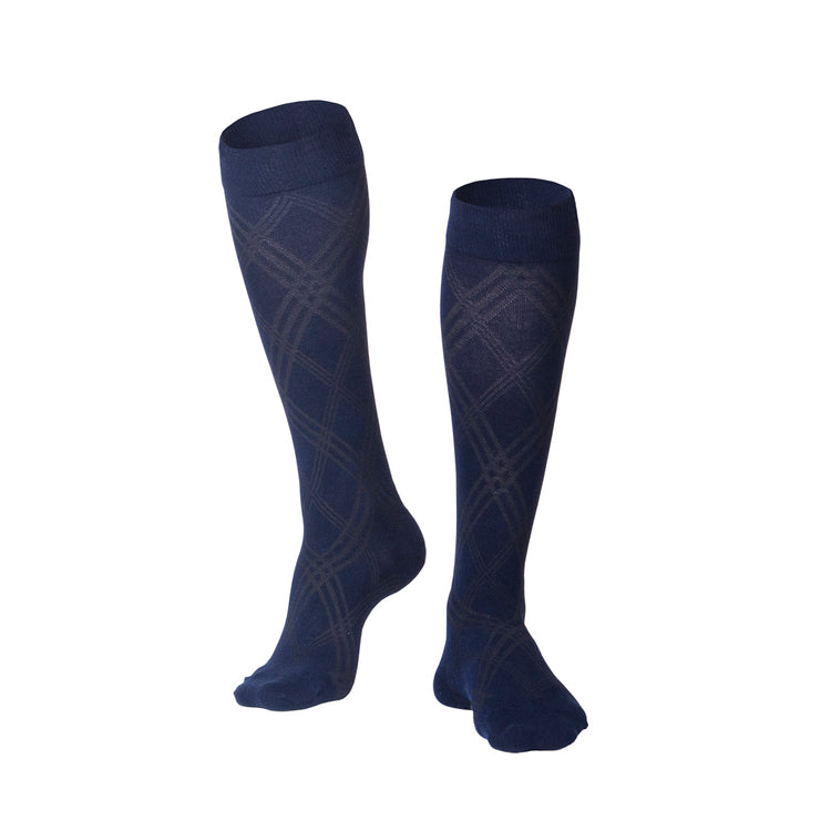 MEN'S NAVY INTELLIGENT ARGYLE PATTERN COMPRESSION SOCKS