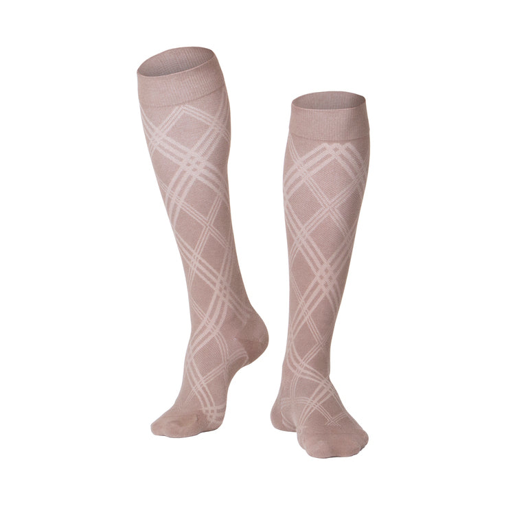 MEN'S TAN INTELLIGENT ARGYLE PATTERN COMPRESSION SOCKS