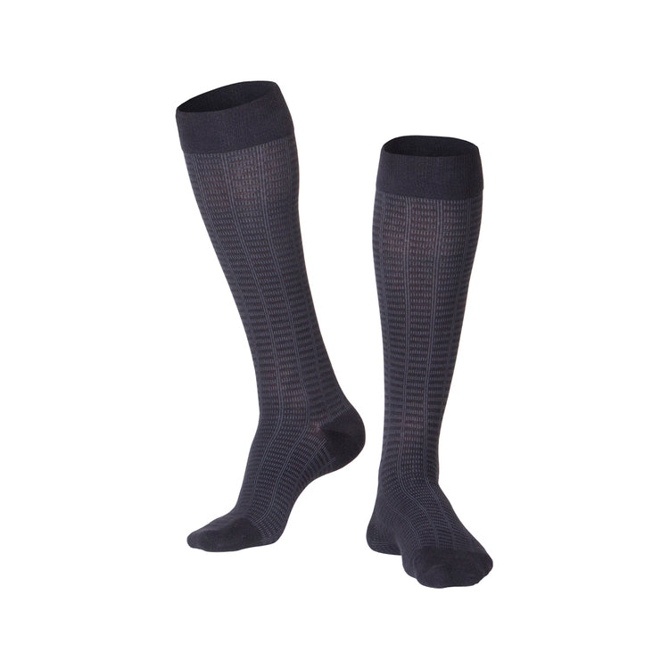 MEN'S NAVY FINE CHECKERED PATTERN COMPRESSION SOCKS