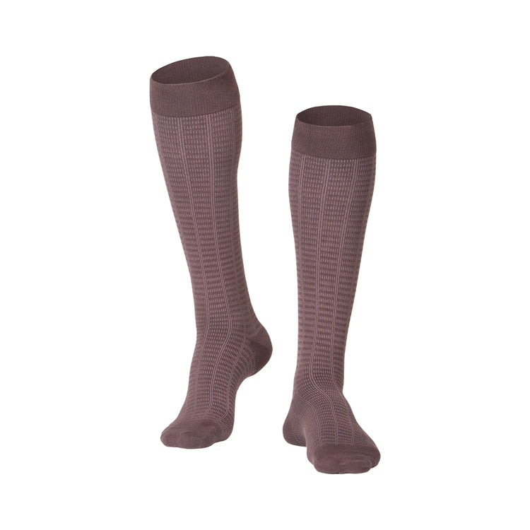 MEN'S BROWN FINE CHECKERED PATTERN COMPRESSION SOCKS