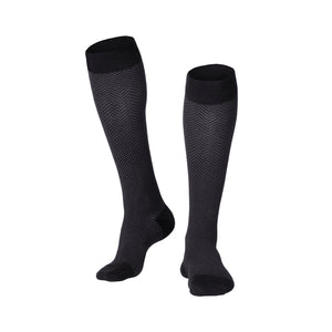 MEN'S BLACK HERRINGBONE PATTERN COMPRESSION SOCKS