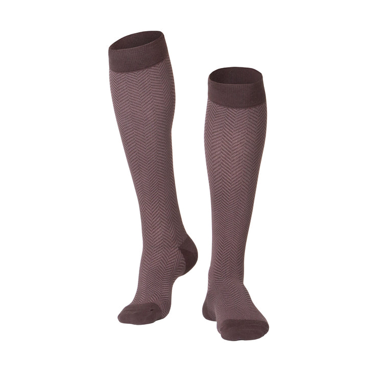 MEN'S BROWN HERRINGBONE PATTERN COMPRESSION SOCKS