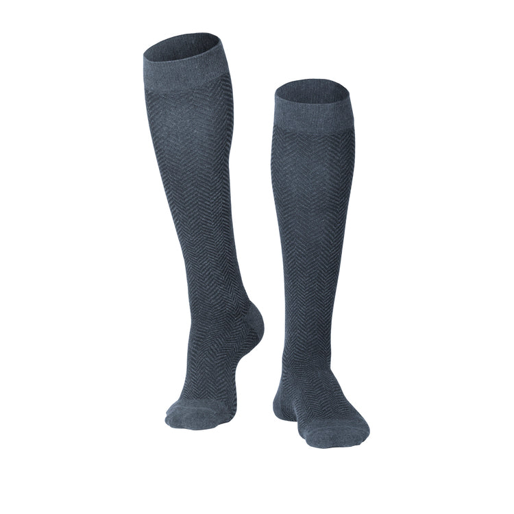 MEN'S CHARCOAL HERRINGBONE PATTERN COMPRESSION SOCKS