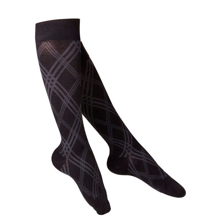 LADIES' BLACK ARGYLE PATTERN COMPRESSION SOCKS