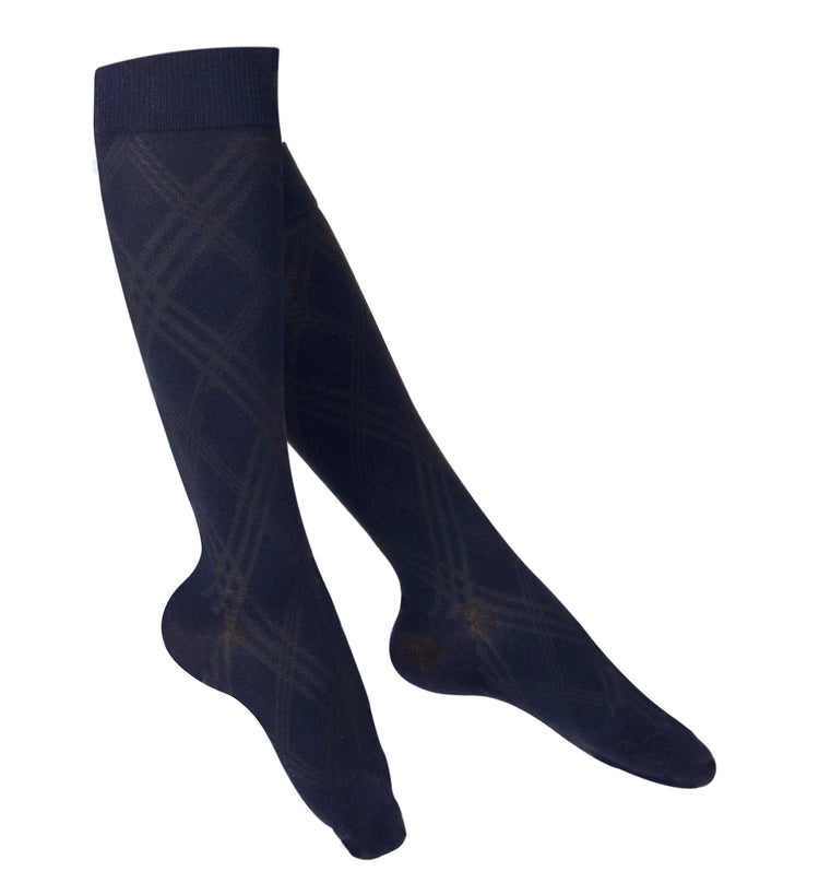 LADIES' NAVY ARGYLE PATTERN COMPRESSION SOCKS