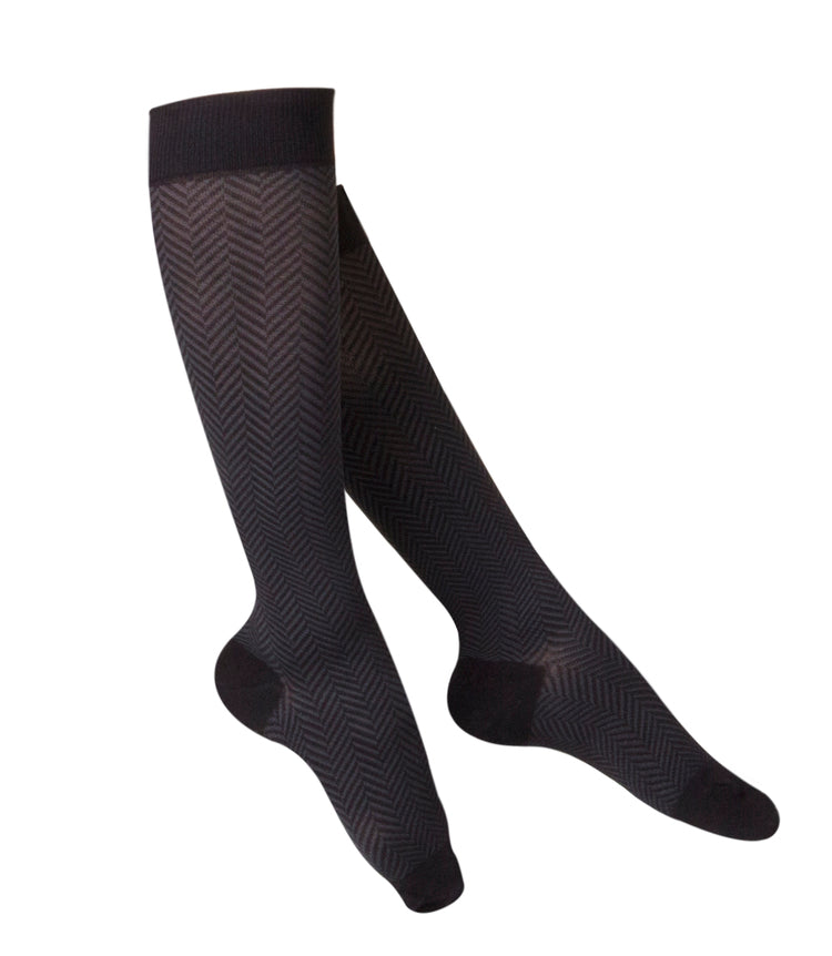 LADIES' BLACK HERRINGBONE PATTERN COMPRESSION SOCKS