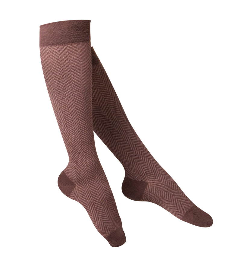 LADIES' BROWN HERRINGBONE PATTERN COMPRESSION SOCKS