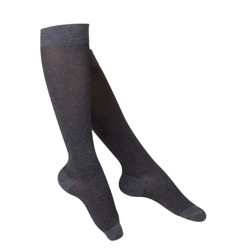 LADIES' CHARCOAL HERRINGBONE PATTERN COMPRESSION SOCKS