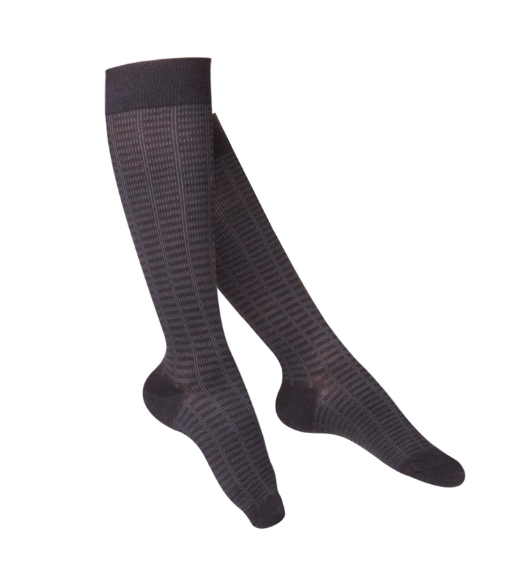 LADIES' BLACK FINE CHECKERED PATTERN COMPRESSION SOCKS