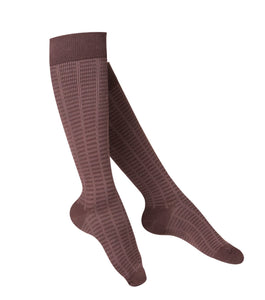 LADIES' BROWN FINE CHECKERED PATTERN COMPRESSION SOCKS