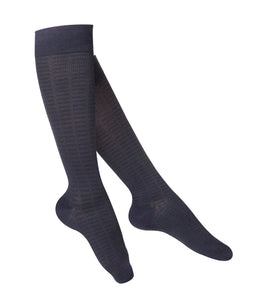 LADIES' NAVY FINE CHECKERED PATTERN COMPRESSION SOCKS