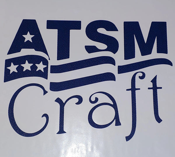 Styletech Blue Denim textured craft vinyl plotted in the ATSM Craft logo