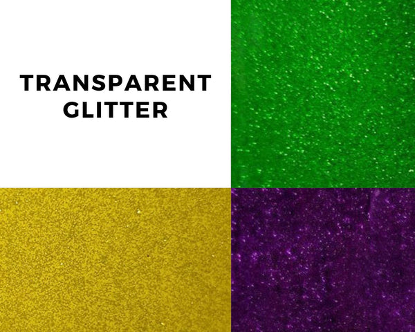 Transparent glitter craft vinyl mardi gras pack