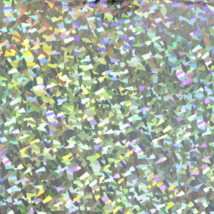 Holographic confetti pattern metallized vinyl.  Pressure sensitive self adhesive.