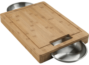 Cutting Board with Stainless Steel Bowls