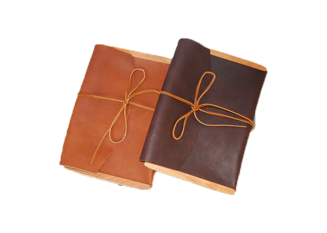 Large Leather Envelope Wood Sided - Tie