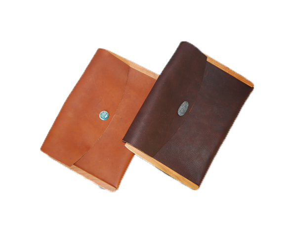 Large Leather Envelope Wood Sided - Button