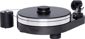Carbon black Project turntable. RPM series , model RPM 5 carbon.Black finish turntable with a carbon base in triangle shape