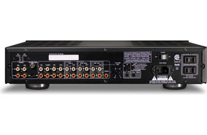 Black preamplifier, audio, back view, input, output, line in, line out, Sound, button, Volume knob, Art et Son, Montreal.