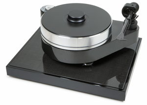 Front view of Carbon black Project turntable. RPM series , model RPM 10 carbon. Square turntable with glossy black finish and carbon band.