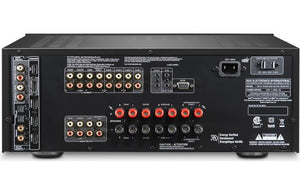 black AV receiver, electronics, NAD, Front view, sound, AC power, inputs, outputs, digital screen, Art et Son, Montreal