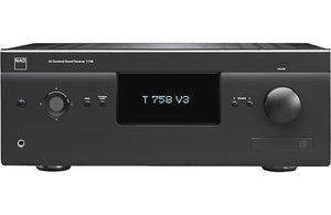 black AV receiver, electronics, NAD, Front view, sound, volume knob, digital screen, Art et Son, Montreal