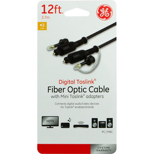Digital Toslink Fiber Optic Audio Cable and Mini Toslink Adapters 6ft (1.8M)