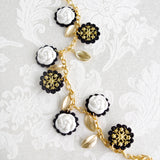 Porcelain Camellias And Golden Leaves Necklace
