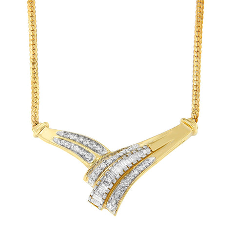 14k Yellow Gold 3/4 ct. TDW Round and Baguette Cut Diamond Fashion Pendant (H-I, SI2-I1)