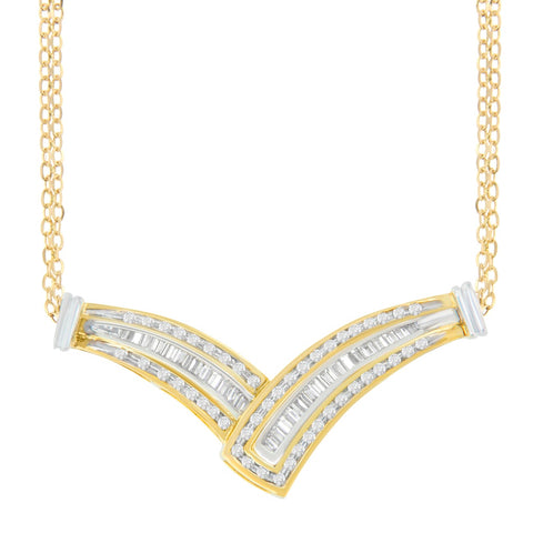 14k Yellow Gold 0.5 ct. TDW Round and Baguette Diamond Fashion Pendant (I-J, I1-I2)