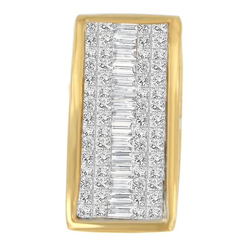 14k Yellow Gold 1 3/8ct TDW Princess Baguette Diamond Rectangle Halo Pendant Necklace (H-I,S1-S2)