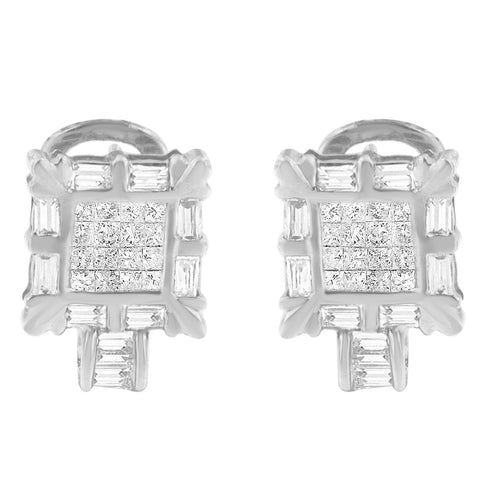 14k White Gold 1ct. TDW Princess and Baguette Diamond Earrings (H-I, SI1-SI2)