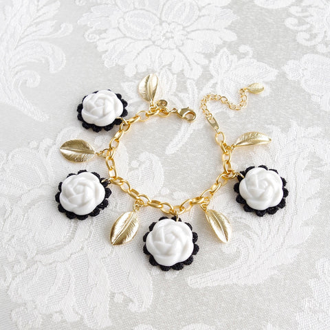 Porcelain Camellias And Golden Leaves Bracelet