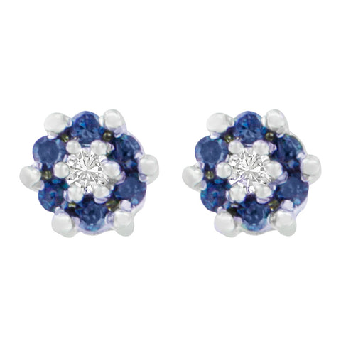 14K White Gold 1/4ct. TDW Round and Treated Blue Cut Diamond Earrings (I-J,I1-I2)