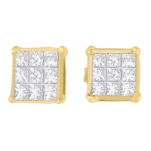 14K Yellow Gold 1/2ct TDW Princess-cut Diamond Earrings (H-I,VS1-VS2)