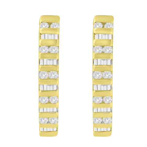 10k Yellow Gold 1 CTW Round and Baguette Diamond Hoop Earrings(I-J, I2-I3)