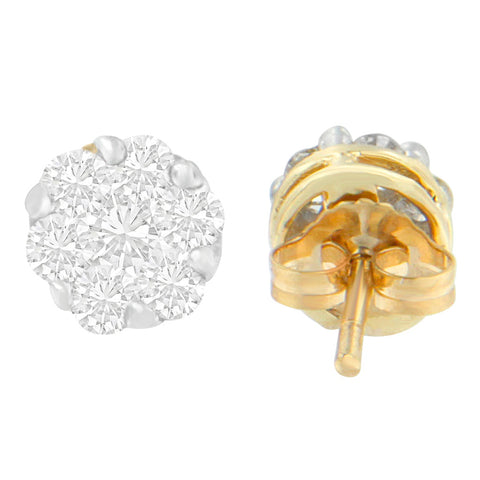 14K Yellow Gold 1ct. TDW Round-cut Diamond Earrings (I-J,SI1-SI2)