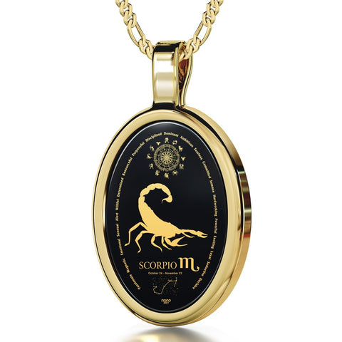 The World of Scorpio, 14k Gold Necklace, Onyx
