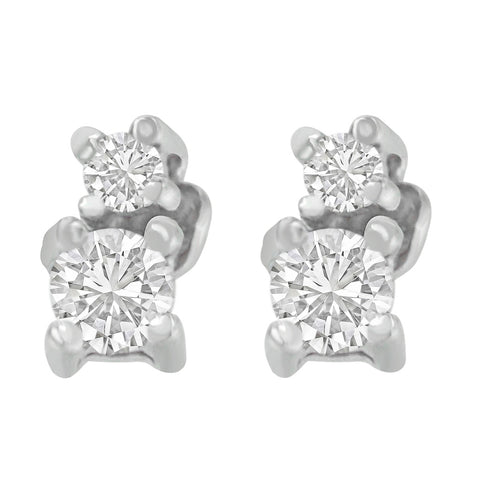 14K White Gold 0.25 ct. TDW Double-Diamond Stud Earrings (H-I, SI2-I1)